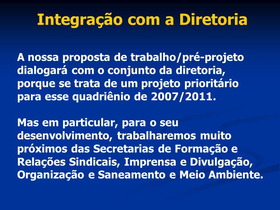 Integração com a Diretoria A nossa proposta de trabalho/pré-projeto dialogará com o conjunto da diretoria, porque se trata de um projeto prioritário p