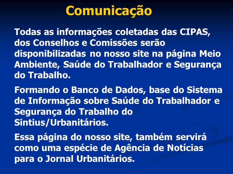 Comunicação Todas as informações coletadas das CIPAS, dos Conselhos e Comissões serão disponibilizadas no nosso site na página Meio Ambiente, Saúde do
