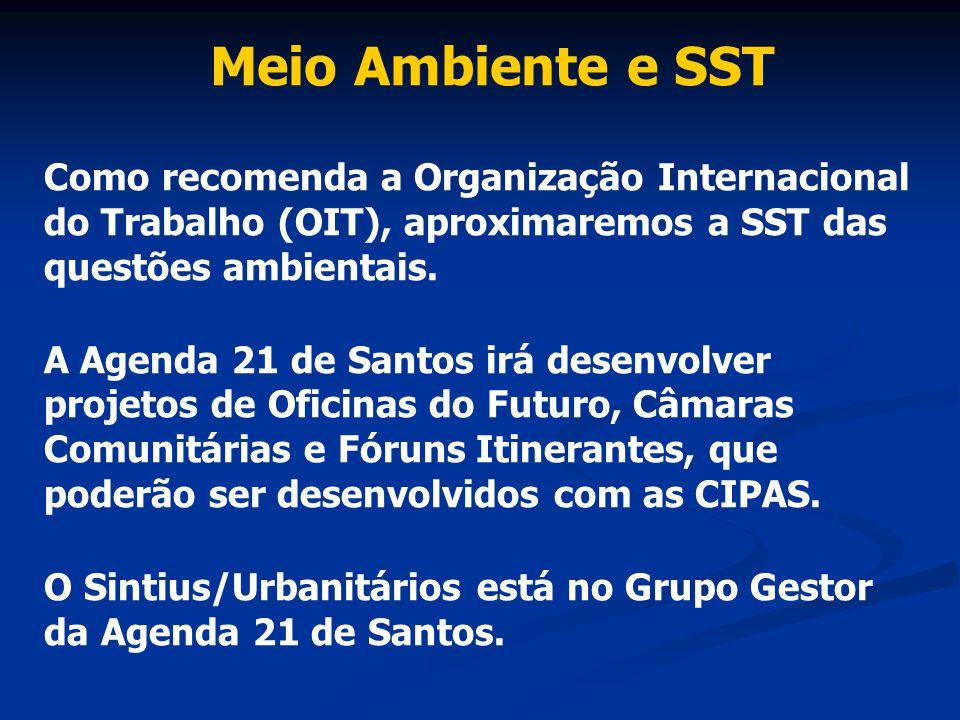 Meio Ambiente e SST Como recomenda a Organização Internacional do Trabalho (OIT), aproximaremos a SST das questões ambientais. A Agenda 21 de Santos i