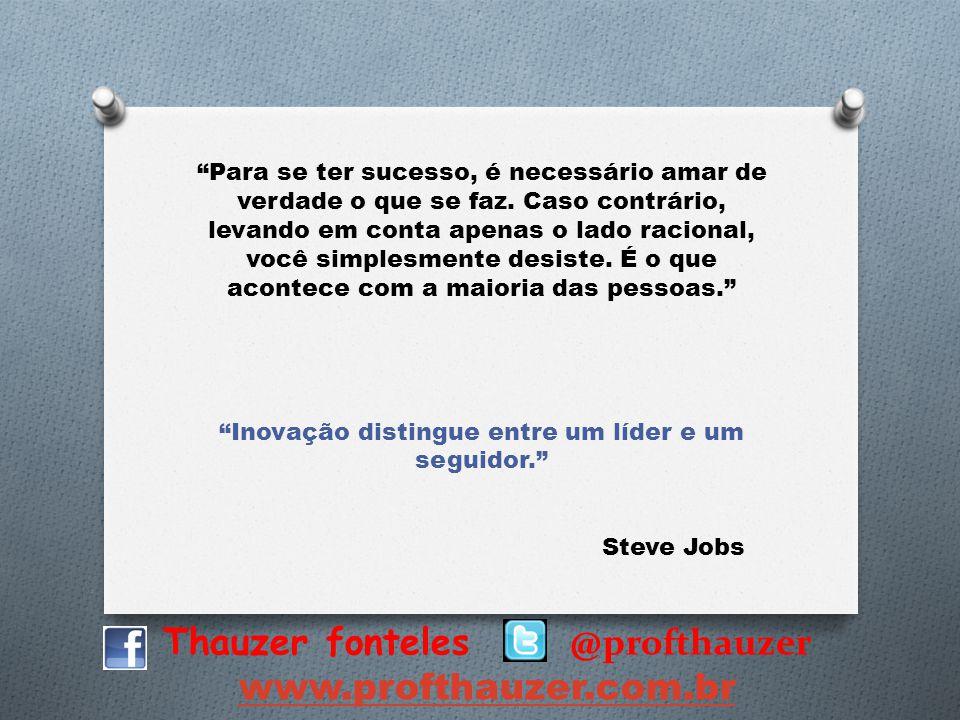 Thauzer fonteles @profthauzer www.profthauzer.com.br Para se ter sucesso, é necessário amar de verdade o que se faz. Caso contrário, levando em conta
