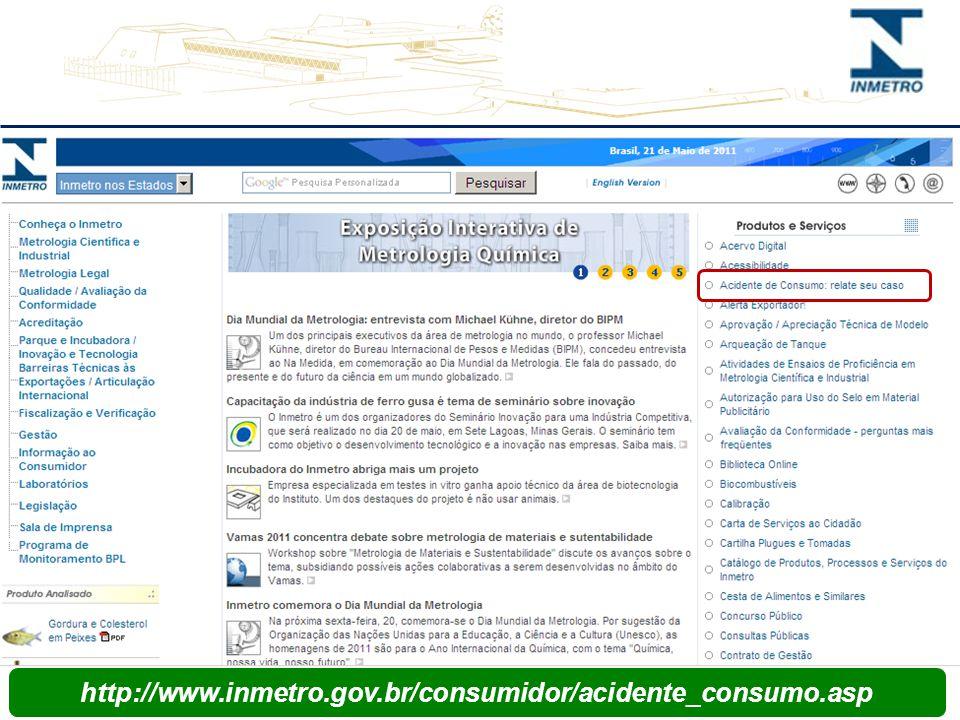 SIMAC - Fonte http://www.inmetro.gov.br/consumidor/acidente_consumo.asp