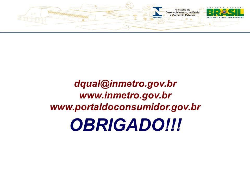 dqual@inmetro.gov.br www.inmetro.gov.br www.portaldoconsumidor.gov.br OBRIGADO!!!