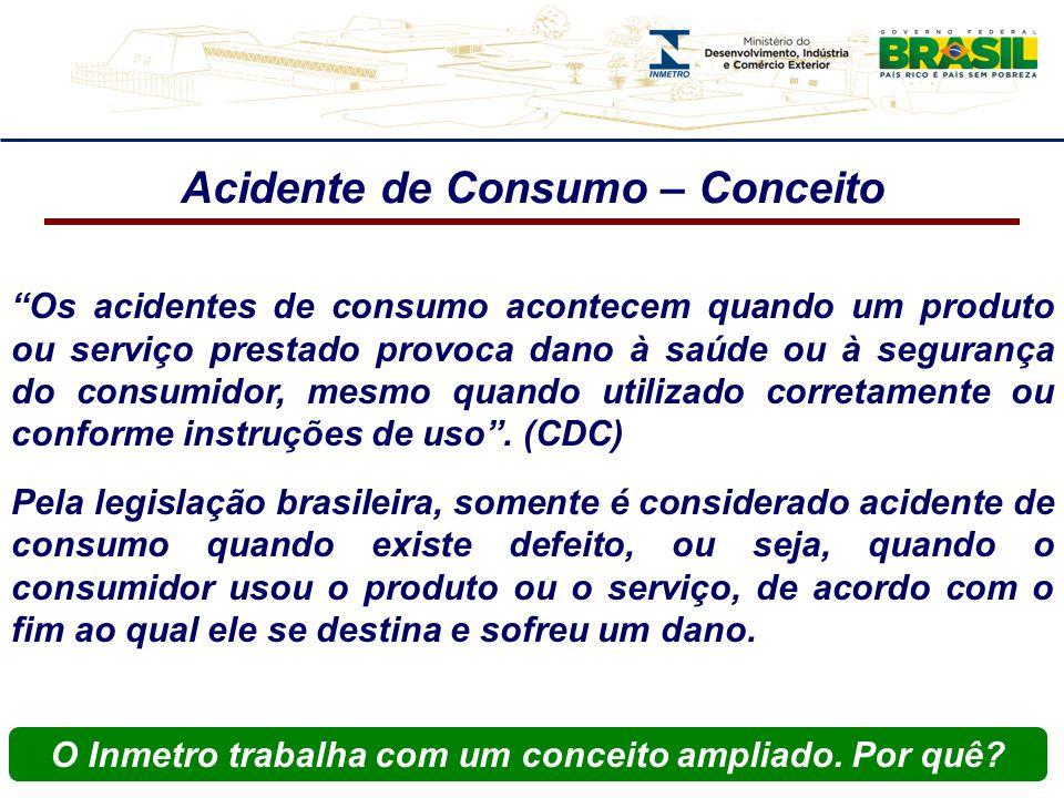 Acidente de Consumo – Conceito Os acidentes de consumo acontecem quando um produto ou serviço prestado provoca dano à saúde ou à segurança do consumidor, mesmo quando utilizado corretamente ou conforme instruções de uso.