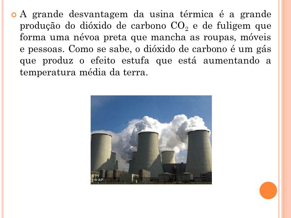 A grande desvantagem da usina térmica é a grande produção do dióxido de carbono CO 2 e de fuligem que forma uma névoa preta que mancha as roupas, móve
