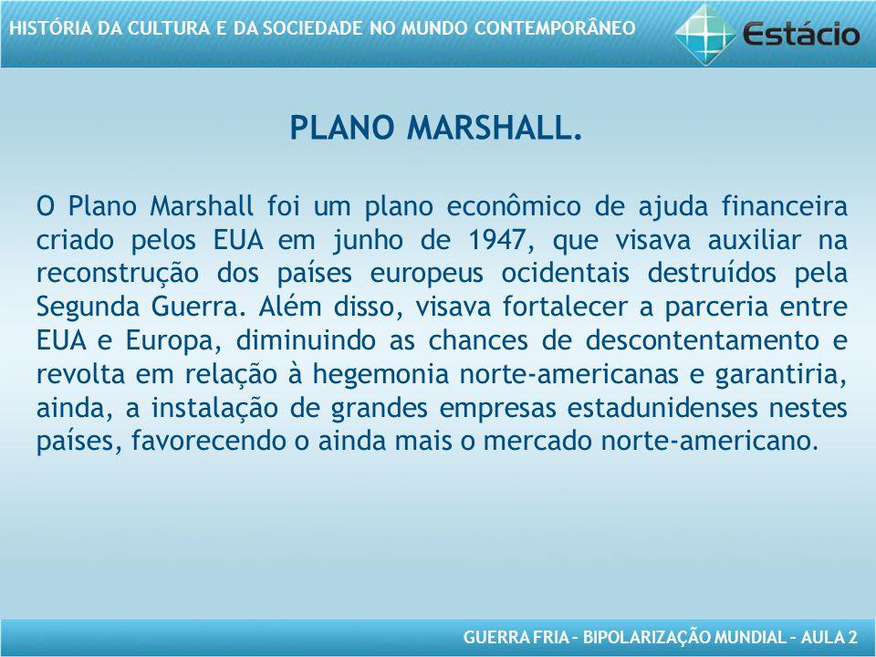 GUERRA FRIA – BIPOLARIZAÇÃO MUNDIAL – AULA 2 HISTÓRIA DA CULTURA E DA SOCIEDADE NO MUNDO CONTEMPORÂNEO PLANO MARSHALL.