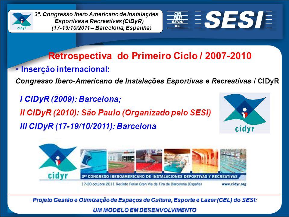 Inserção internacional: Congresso Ibero-Americano de Instalações Esportivas e Recreativas / CIDyR I CIDyR (2009): Barcelona; II CIDyR (2010): São Paul