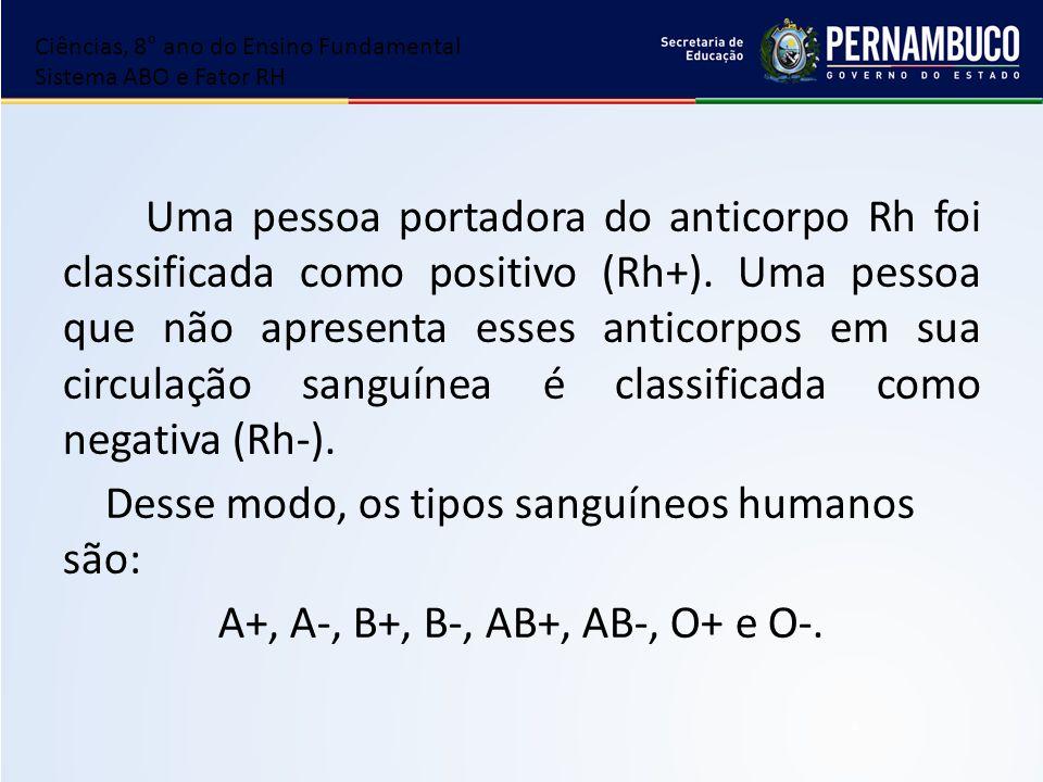 Uma pessoa portadora do anticorpo Rh foi classificada como positivo (Rh+). Uma pessoa que não apresenta esses anticorpos em sua circulação sanguínea é