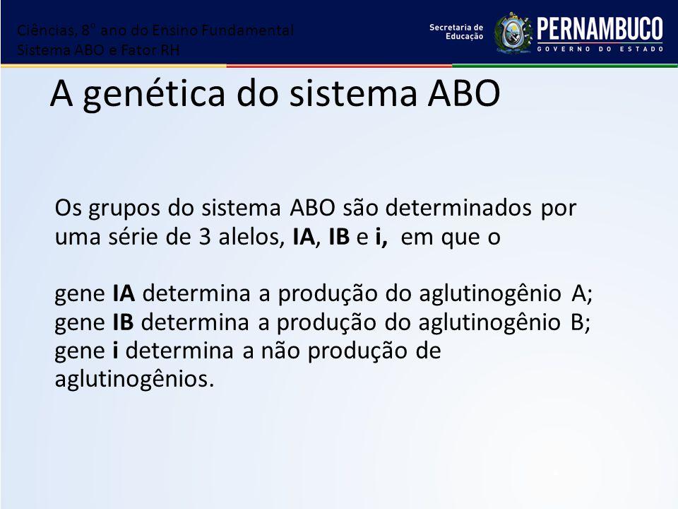 A genética do sistema ABO Os grupos do sistema ABO são determinados por uma série de 3 alelos, IA, IB e i, em que o gene IA determina a produção do ag