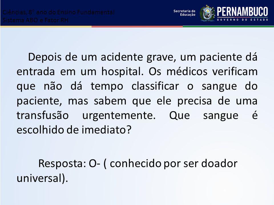 Depois de um acidente grave, um paciente dá entrada em um hospital. Os médicos verificam que não dá tempo classificar o sangue do paciente, mas sabem