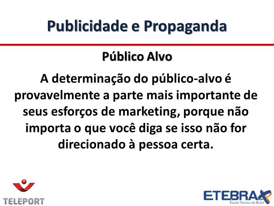 Publicidade e Propaganda Público Alvo A determinação do público-alvo é provavelmente a parte mais importante de seus esforços de marketing, porque não importa o que você diga se isso não for direcionado à pessoa certa.