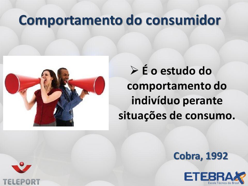 Comportamento do consumidor É o estudo do comportamento do indivíduo perante situações de consumo.