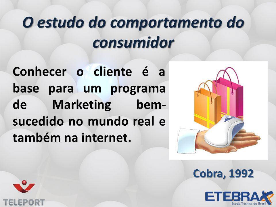 O estudo do comportamento do consumidor Conhecer o cliente é a base para um programa de Marketing bem- sucedido no mundo real e também na internet.