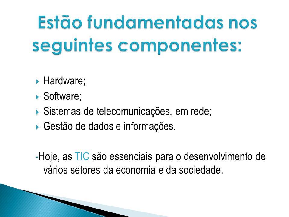 Hardware; Software; Sistemas de telecomunicações, em rede; Gestão de dados e informações. -Hoje, as TIC são essenciais para o desenvolvimento de vário