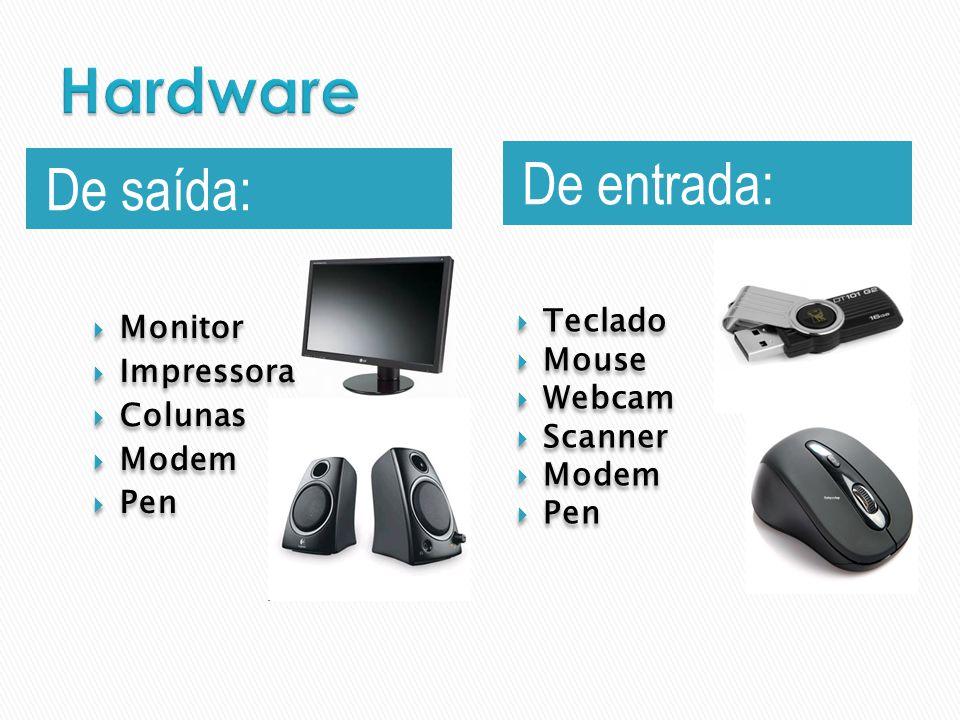 De saída: De entrada: Monitor Impressora Colunas Modem Pen Monitor Impressora Colunas Modem Pen Teclado Mouse Webcam Scanner Modem Pen Teclado Mouse W