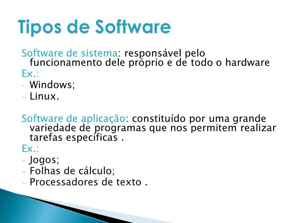 Software de sistema: responsável pelo funcionamento dele próprio e de todo o hardware Ex.: - Windows; - Linux. Software de aplicação: constituído por