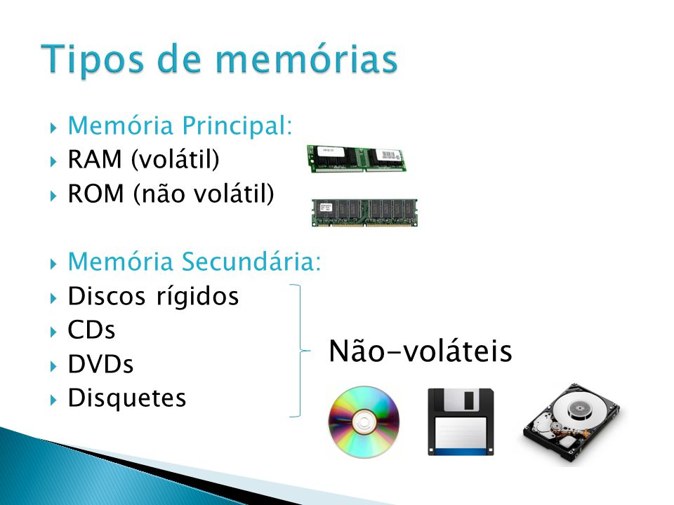 Memória Principal: RAM (volátil) ROM (não volátil) Memória Secundária: Discos rígidos CDs DVDs Disquetes Não-voláteis