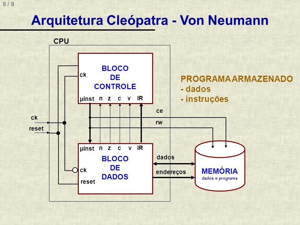 6 / 9 BLOCO DE CONTROLE BLOCO DE DADOS µinst IRnzc nzc µinst ck reset ce rw dados endereços MEMÓRIA dados e programa CPU ck reset PROGRAMA ARMAZENADO - dados - instruções v v Arquitetura Cleópatra - Von Neumann