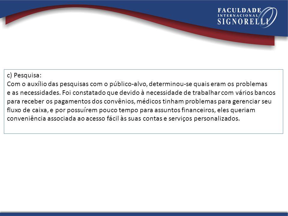 c) Pesquisa: Com o auxílio das pesquisas com o público-alvo, determinou-se quais eram os problemas e as necessidades.