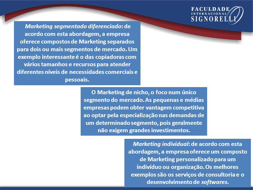 O Marketing de nicho, o foco num único segmento do mercado.