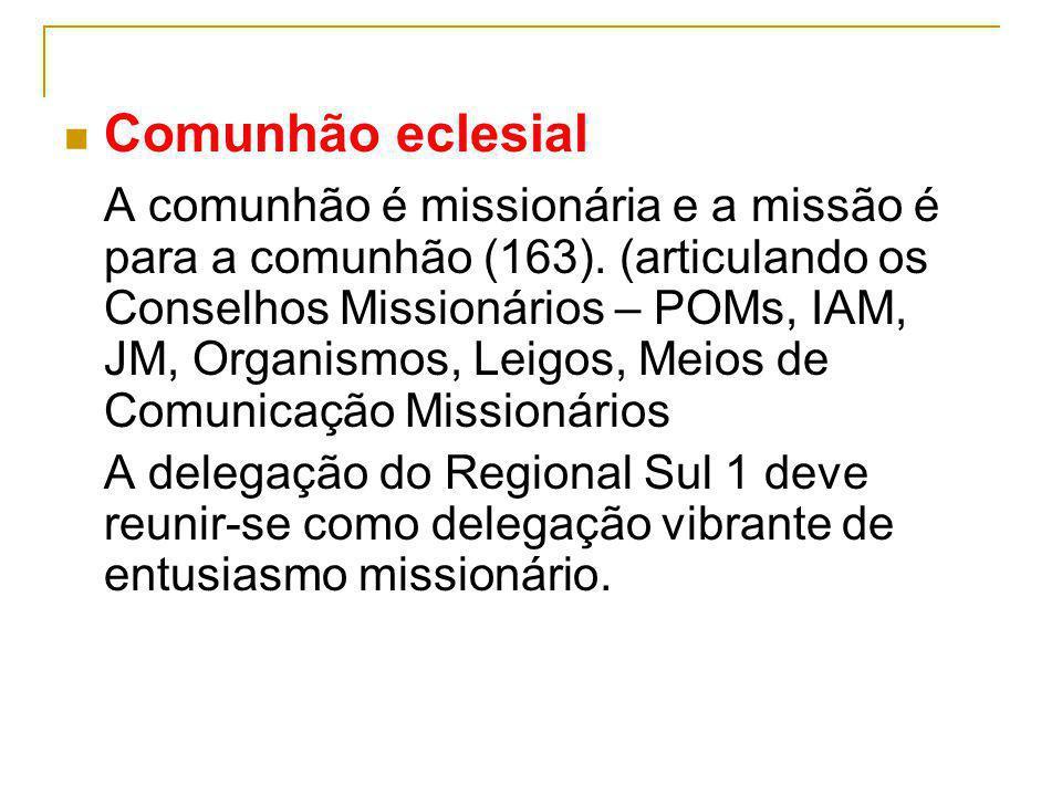 Comunhão eclesial A comunhão é missionária e a missão é para a comunhão (163). (articulando os Conselhos Missionários – POMs, IAM, JM, Organismos, Lei