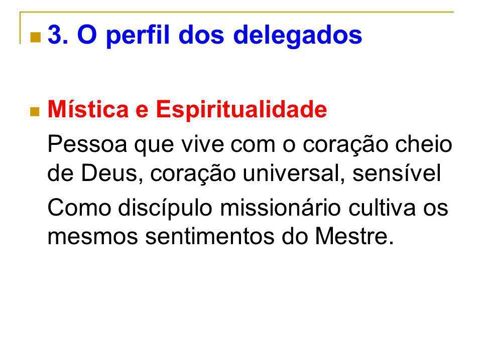 3. O perfil dos delegados Mística e Espiritualidade Pessoa que vive com o coração cheio de Deus, coração universal, sensível Como discípulo missionári