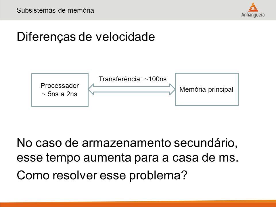 Subsistemas de memória Diferenças de velocidade No caso de armazenamento secundário, esse tempo aumenta para a casa de ms.