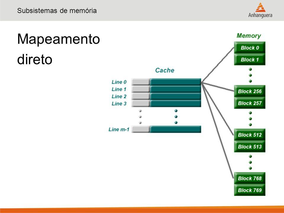 Subsistemas de memória Mapeamento direto - endereços TagByteLinha 5 bits Byte 00000 Byte 00001 Byte 00010 Byte 00011 Byte 11100 Byte 11101 Byte 11110 Byte 11111.......