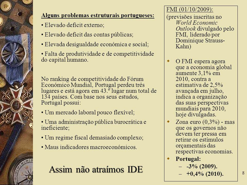 Objectivos Estratégicos Portugueses 19 Aumento das exportações.