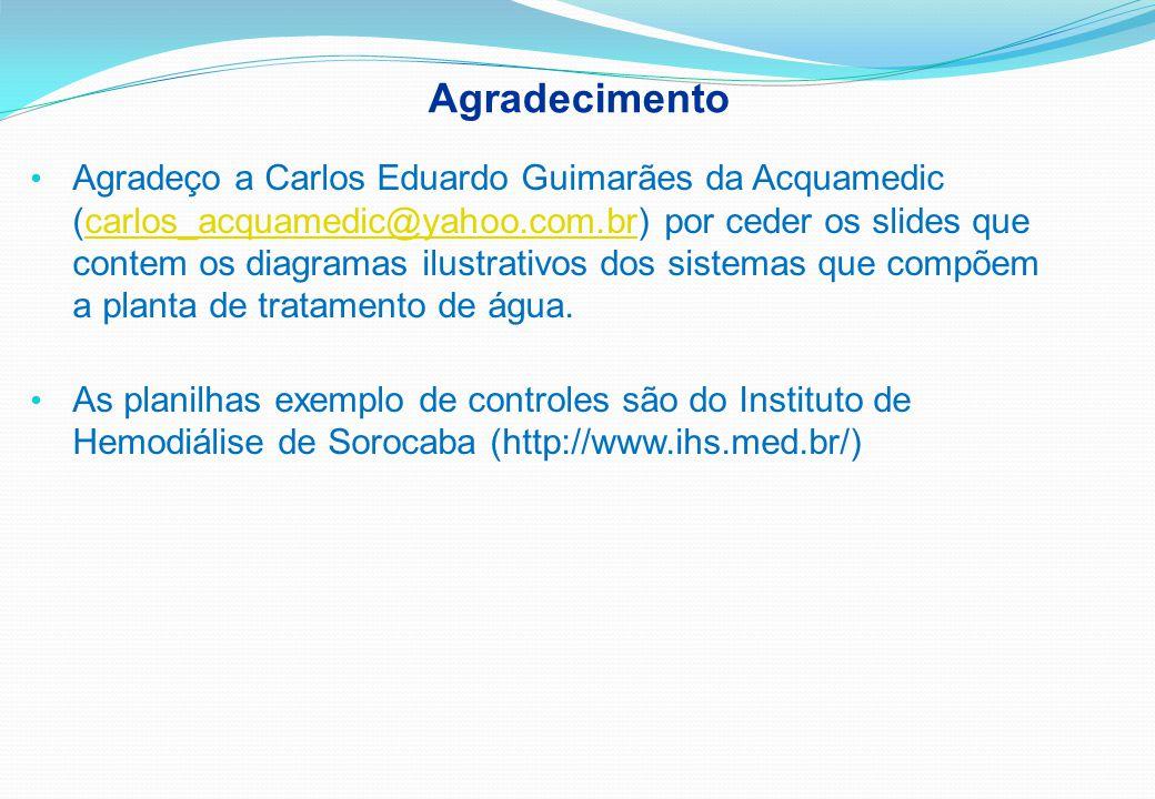 Agradecimento Agradeço a Carlos Eduardo Guimarães da Acquamedic (carlos_acquamedic@yahoo.com.br) por ceder os slides que contem os diagramas ilustrativos dos sistemas que compõem a planta de tratamento de água.carlos_acquamedic@yahoo.com.br As planilhas exemplo de controles são do Instituto de Hemodiálise de Sorocaba (http://www.ihs.med.br/)