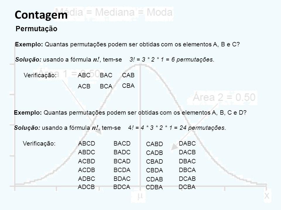 Contagem Permutação Exemplo: Quantas permutações podem ser obtidas com os elementos A, B e C.
