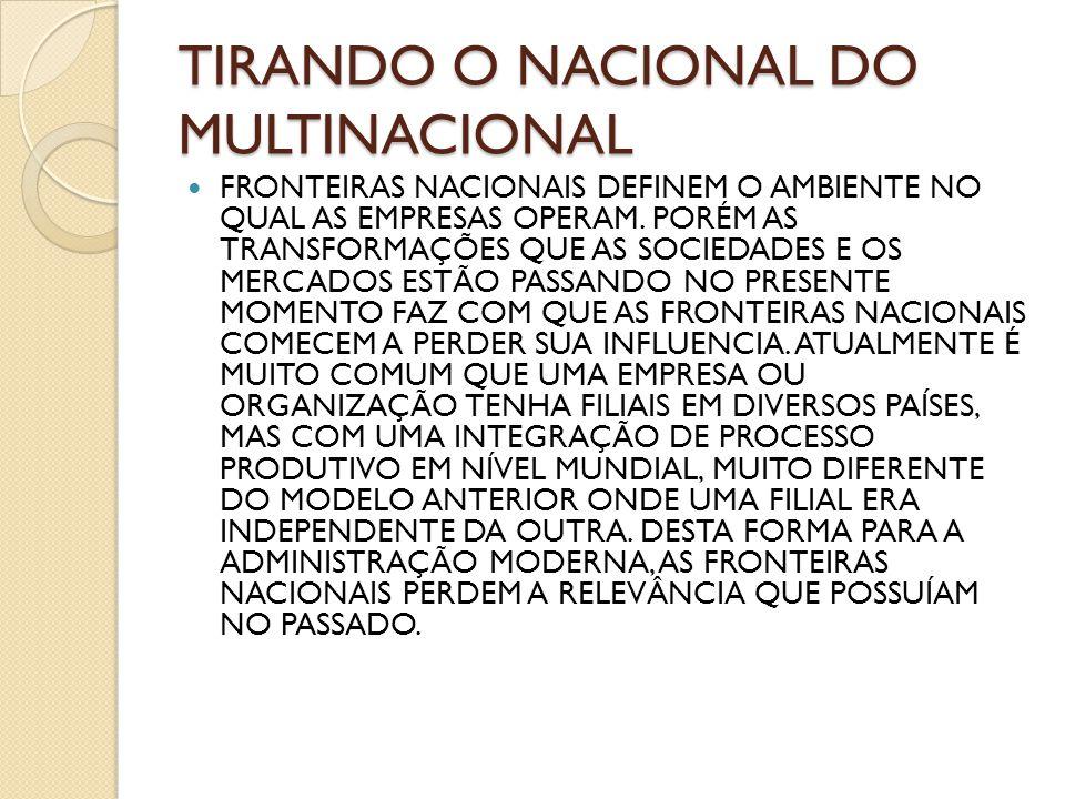 TIRANDO O NACIONAL DO MULTINACIONAL FRONTEIRAS NACIONAIS DEFINEM O AMBIENTE NO QUAL AS EMPRESAS OPERAM. PORÉM AS TRANSFORMAÇÕES QUE AS SOCIEDADES E OS