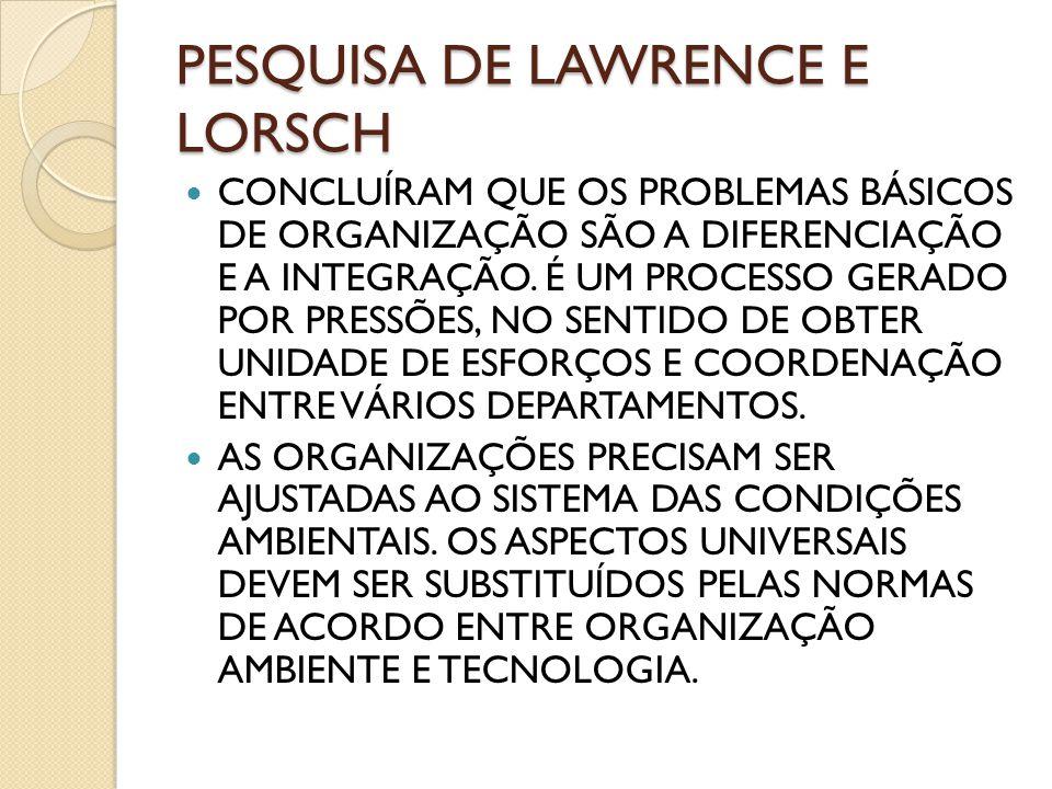 PESQUISA DE LAWRENCE E LORSCH CONCLUÍRAM QUE OS PROBLEMAS BÁSICOS DE ORGANIZAÇÃO SÃO A DIFERENCIAÇÃO E A INTEGRAÇÃO. É UM PROCESSO GERADO POR PRESSÕES