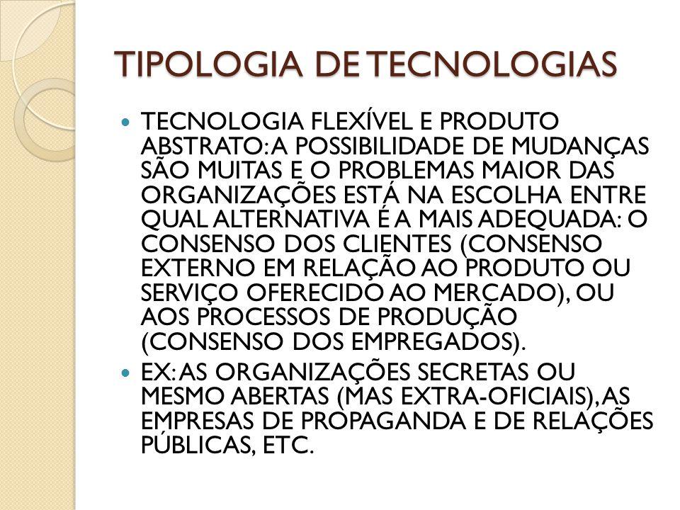TIPOLOGIA DE TECNOLOGIAS TECNOLOGIA FLEXÍVEL E PRODUTO ABSTRATO: A POSSIBILIDADE DE MUDANÇAS SÃO MUITAS E O PROBLEMAS MAIOR DAS ORGANIZAÇÕES ESTÁ NA E