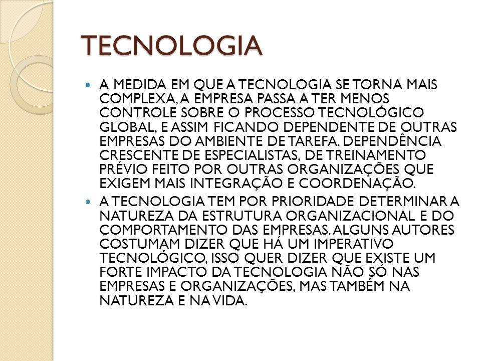TECNOLOGIA A MEDIDA EM QUE A TECNOLOGIA SE TORNA MAIS COMPLEXA, A EMPRESA PASSA A TER MENOS CONTROLE SOBRE O PROCESSO TECNOLÓGICO GLOBAL, E ASSIM FICA