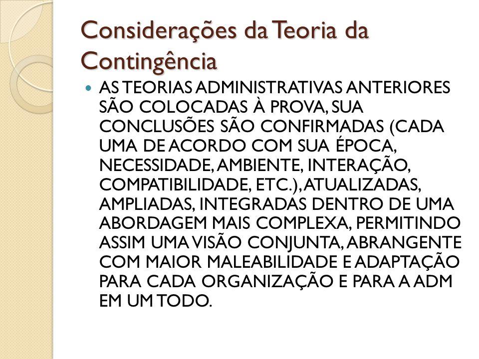 Considerações da Teoria da Contingência AS TEORIAS ADMINISTRATIVAS ANTERIORES SÃO COLOCADAS À PROVA, SUA CONCLUSÕES SÃO CONFIRMADAS (CADA UMA DE ACORD