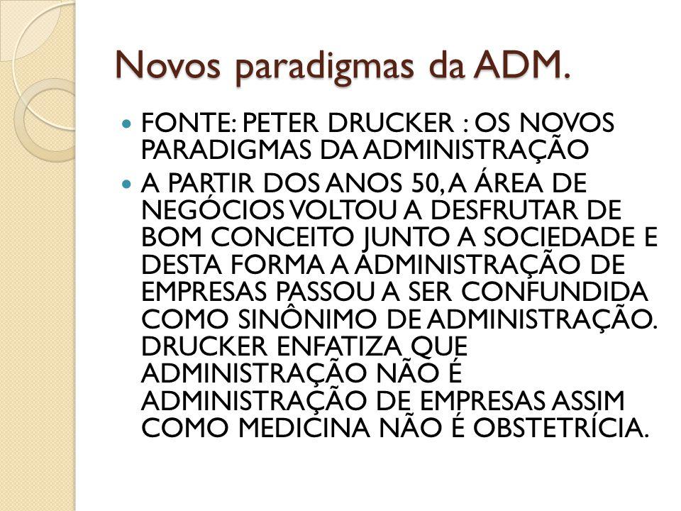 Novos paradigmas da ADM. FONTE: PETER DRUCKER : OS NOVOS PARADIGMAS DA ADMINISTRAÇÃO A PARTIR DOS ANOS 50, A ÁREA DE NEGÓCIOS VOLTOU A DESFRUTAR DE BO
