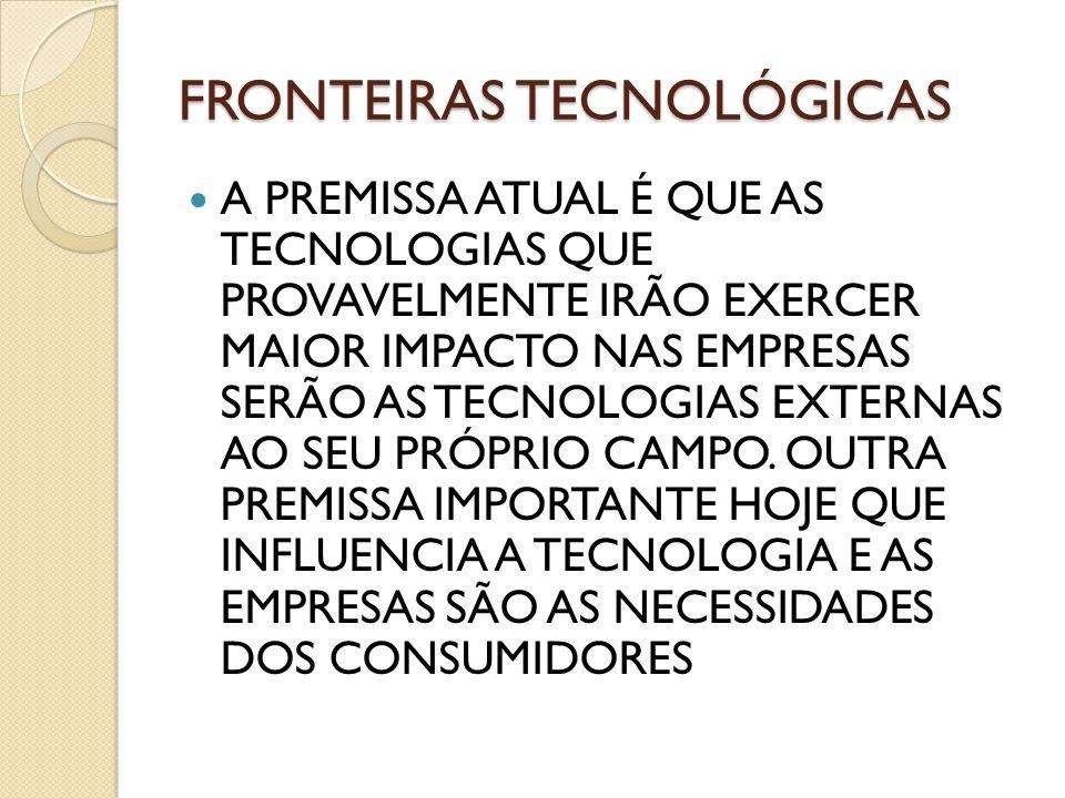 FRONTEIRAS TECNOLÓGICAS A PREMISSA ATUAL É QUE AS TECNOLOGIAS QUE PROVAVELMENTE IRÃO EXERCER MAIOR IMPACTO NAS EMPRESAS SERÃO AS TECNOLOGIAS EXTERNAS