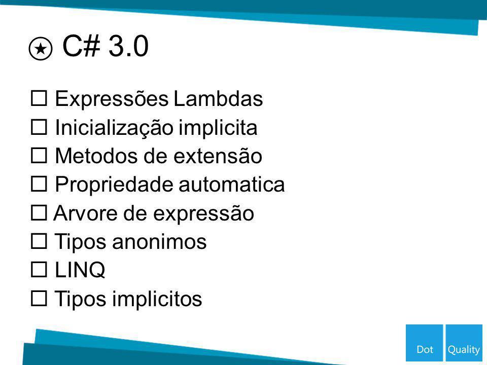 Expressões Lambdas Inicialização implicita Metodos de extensão Propriedade automatica Arvore de expressão Tipos anonimos LINQ Tipos implicitos C# 3.0