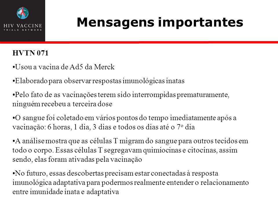 Mensagens importantes HVTN 071 Usou a vacina de Ad5 da Merck Elaborado para observar respostas imunológicas inatas Pelo fato de as vacinações terem si