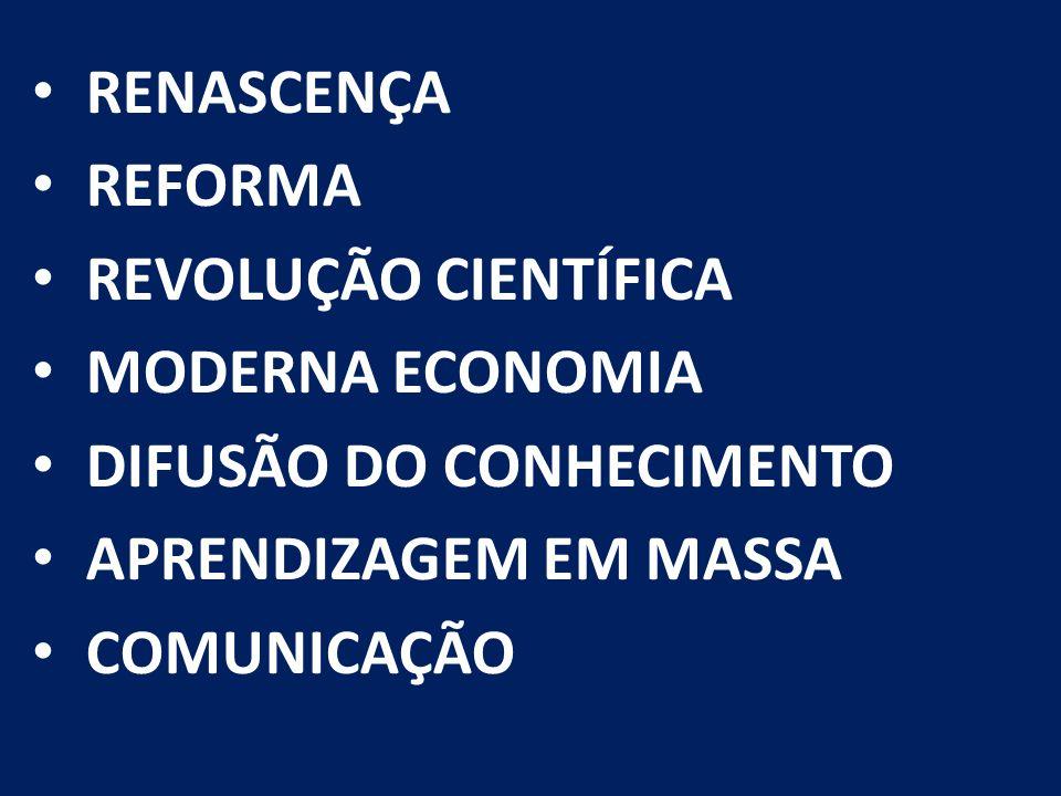 RENASCENÇA REFORMA REVOLUÇÃO CIENTÍFICA MODERNA ECONOMIA DIFUSÃO DO CONHECIMENTO APRENDIZAGEM EM MASSA COMUNICAÇÃO