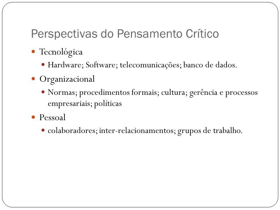 Perspectivas do Pensamento Crítico Tecnológica Hardware; Software; telecomunicações; banco de dados. Organizacional Normas; procedimentos formais; cul