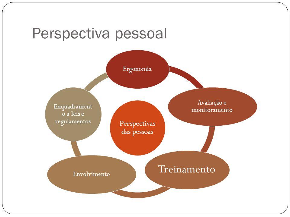 Perspectiva pessoal Perspectivas das pessoas Ergonomia Avaliação e monitoramento Treinamento Envolvimento Enquadrament o a leis e regulamentos