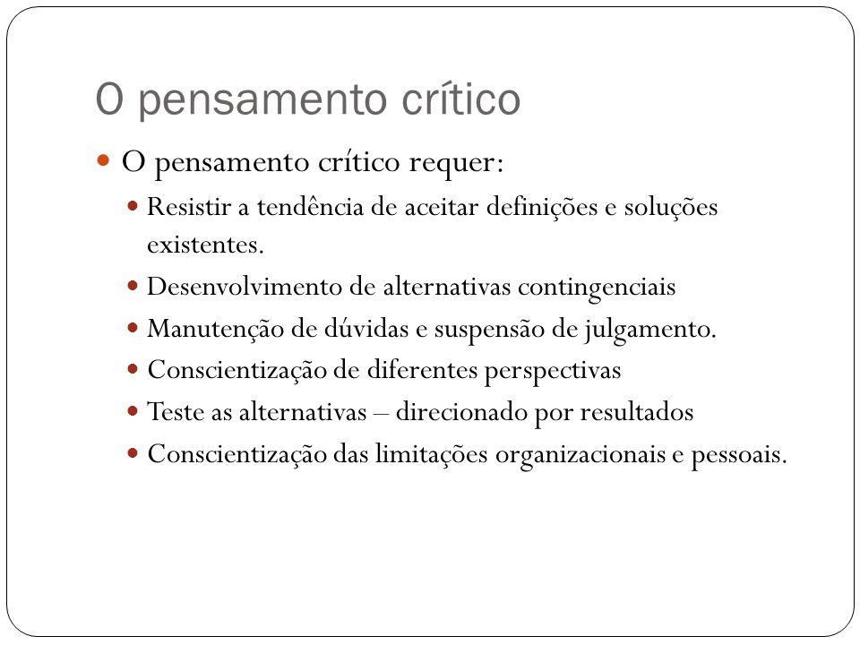 O pensamento crítico O pensamento crítico requer: Resistir a tendência de aceitar definições e soluções existentes. Desenvolvimento de alternativas co