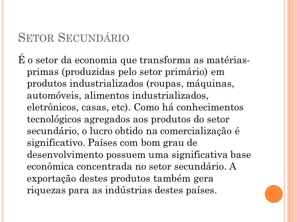 S ETOR S ECUNDÁRIO É o setor da economia que transforma as matérias- primas (produzidas pelo setor primário) em produtos industrializados (roupas, máq