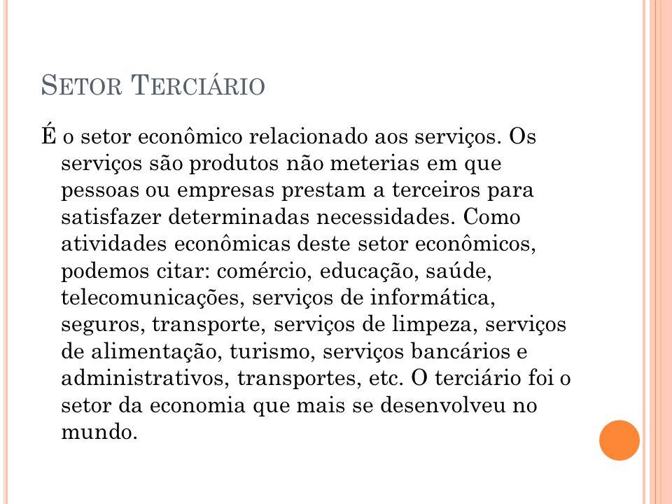 S ETOR T ERCIÁRIO É o setor econômico relacionado aos serviços. Os serviços são produtos não meterias em que pessoas ou empresas prestam a terceiros p