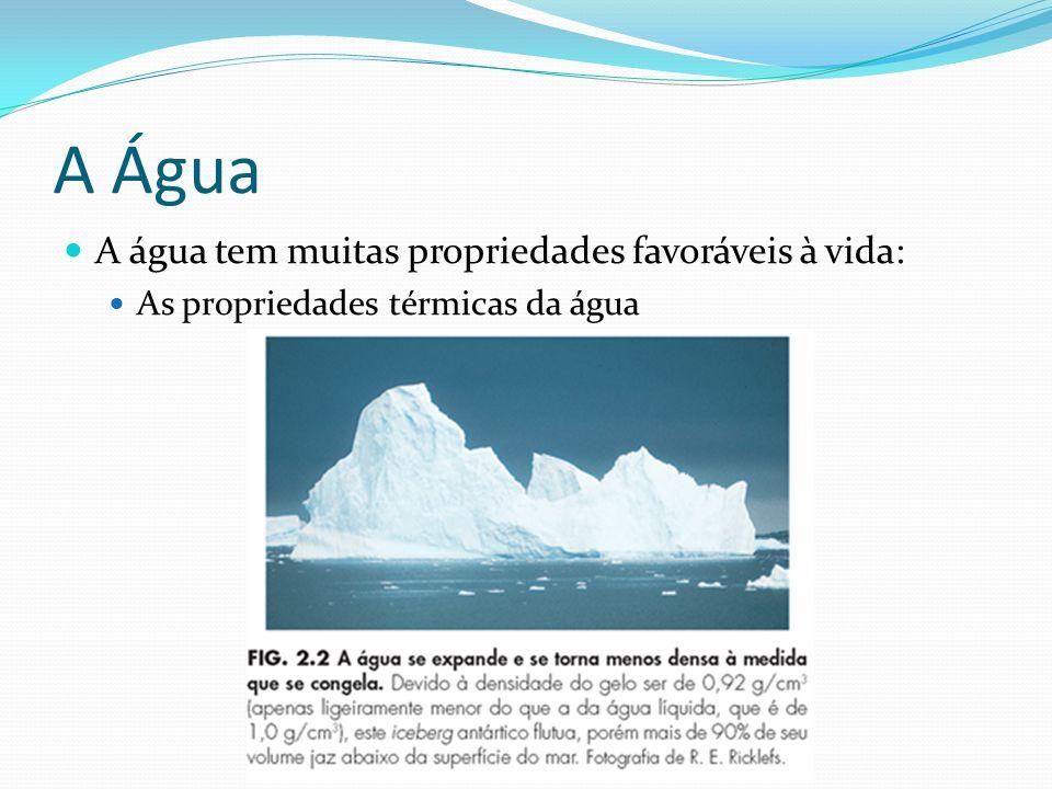 A Água A água tem muitas propriedades favoráveis à vida: As propriedades térmicas da água