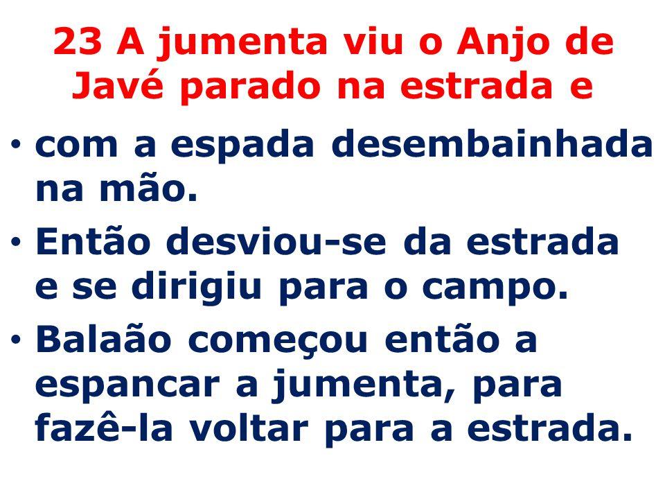 23 A jumenta viu o Anjo de Javé parado na estrada e com a espada desembainhada na mão. Então desviou-se da estrada e se dirigiu para o campo. Balaão c