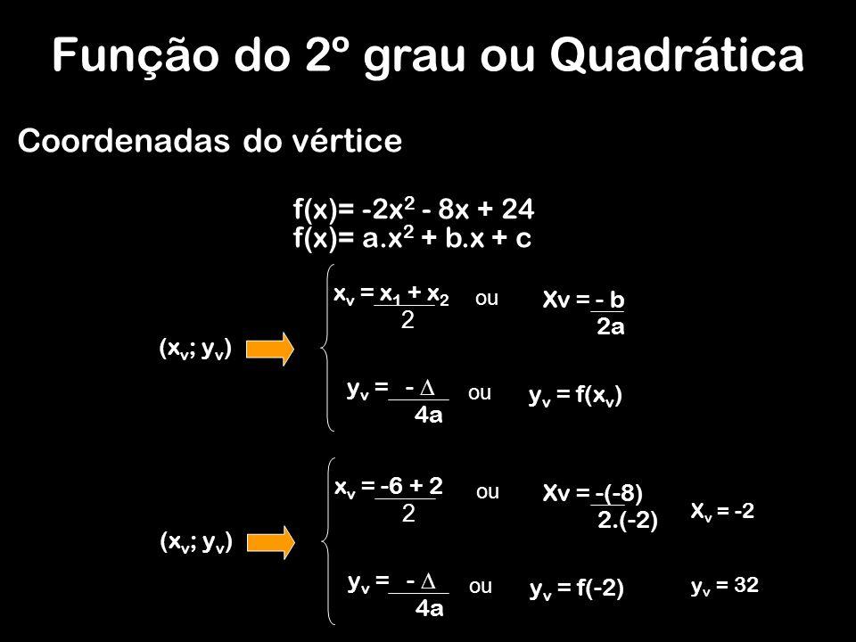 (x v ; y v ) x v = x 1 + x 2 2 Xv = - b 2a ou y v = - 4a ou y v = f(x v ) Coordenadas do vértice (x v ; y v ) x v = -6 + 2 2 Xv = -(-8) 2.(-2) ou y v