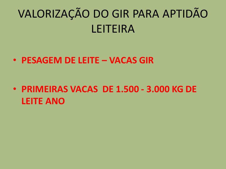 VALORIZAÇÃO DO GIR PARA APTIDÃO LEITEIRA PESAGEM DE LEITE – VACAS GIR PRIMEIRAS VACAS DE 1.500 - 3.000 KG DE LEITE ANO