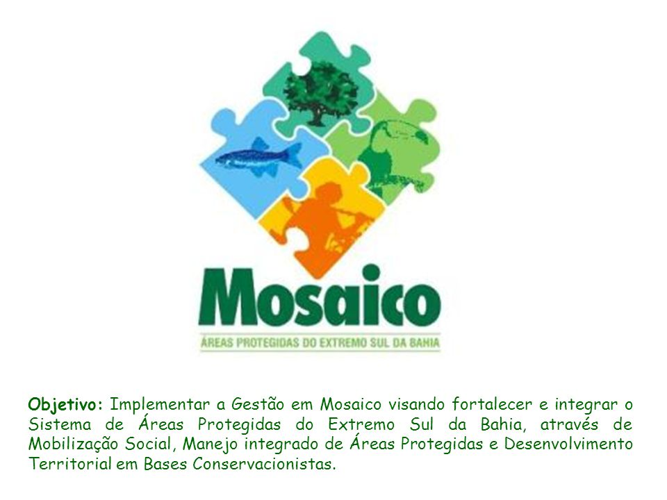 Objetivo: Implementar a Gestão em Mosaico visando fortalecer e integrar o Sistema de Áreas Protegidas do Extremo Sul da Bahia, através de Mobilização